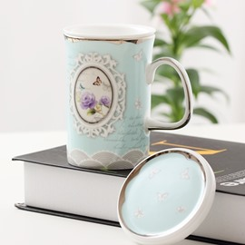 Modern Fashion Blue Flower and Butterfly Pattern with Strainer Coffee Mug