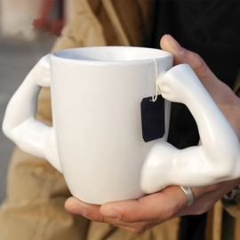 White and Black Ceramic Brawny Arms Decoration Handmade Coffee Mug