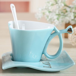 Simple Style Blue Lovely Heart Shape Ceramic Coffee Mugs Set