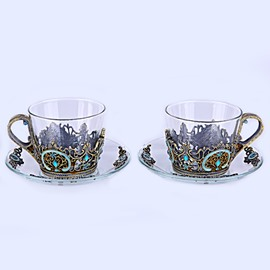 Vintage European Style Enamels Design 2 Pieces Coffee Mug Sets