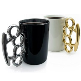 White and Black Unique Design Ceramic Fist Decoration Coffee Mugs