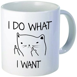 White Ceramic Creative I Do What I Want Sassy Cat Pattern Design Coffee Mug