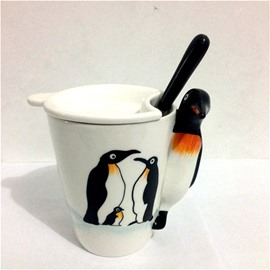 Lovely Penguins 3D Marine Life Ceramics Tea Cups and Coffee Cup Set Gift Cup Set