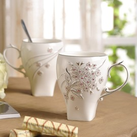 White Mug with Pink Diamond Flowers Concise Style Coffee and Milk Cups