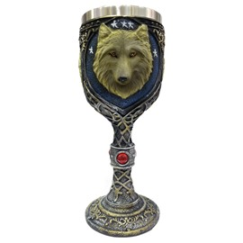 3D Stainless Head of Wolf Printed New Creative Red Wine Tall Glass