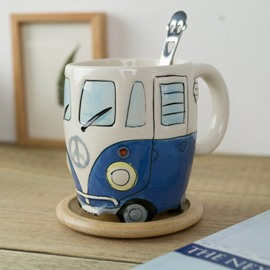 Lovely and Elegant Style Ceramics Hand Painted Bus Birthday Gift Cups and Mugs
