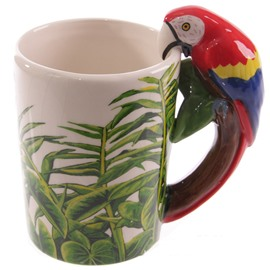 3D Unique and Creative Style Ceramics Hand Painted Parrot Pattern Birthday Gift Cups and Mugs