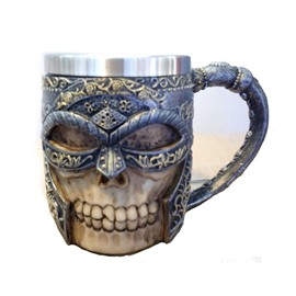New Creative Masked Rider 3D Stainless Steel Human Skull Printed Double Layer Cup