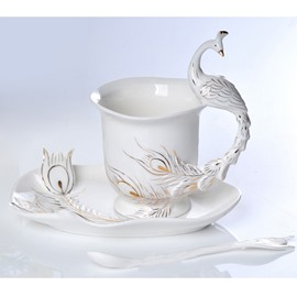 White and Green Peacock High Quality Ceramics Milk and Coffee Cup Sets