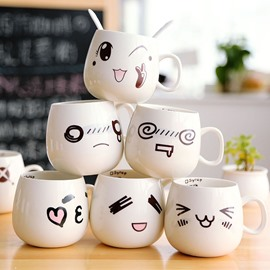 Modern and Concise Funny Cartoon Smell Face Ceramics Creative Coffee and Milk Cup