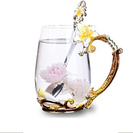 Creative Birthday Gift Yellow Lily Flowers Crystal Enamel Cups Office Mug Cup