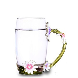 Wonderful Pink Flower High Quality Enamels Crystals Home and Office Tea Mugs