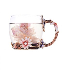 Wonderful Pink Flower High Quality Enamels Crystals Home and Office Coffee Mugs