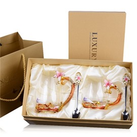 High Grade Enamel Transparent Glass with Beautiful Flowers Birthday Gift Cup Sets