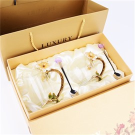 Transparent Enamel Glass Modern and Elegant Home and Office Tea Cup Sets