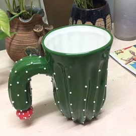 Novelty Green Cactus Ideal Creative Gift Ceramic Coffee Mugs