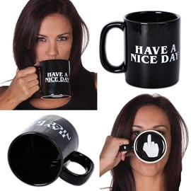 Have A Nice Day &Middle Finger on the Bottom Ceramic Coffee Mug