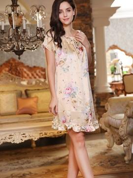 New Arrival Floral Print Elegant Sleepwear with Short Sleeves