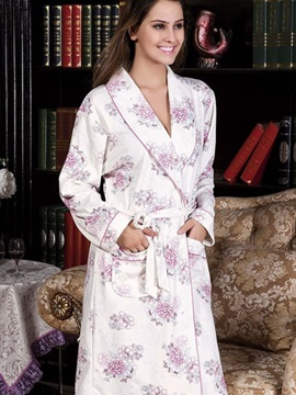 New Arrival Purple Blooming Flowers Print Full Cotton Loungewear