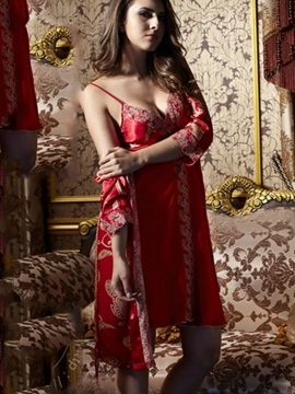 High Quality Embroidery Sexy Red Silky Sleepwear