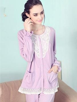 Elegant Light Purple Soft Lace Trim 100% Pure Cotton Pajamas Set