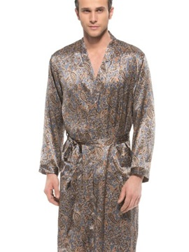 Bohemia Style Unique Pattern Flat Collar Belted Mulberry Silk Robe