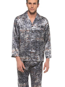 Elegant Chromatic Dots Print Open Collar Long Sleeve Silk Pajamas