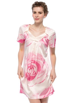 Excellent Pink Rose Flower Print 1Piece Pullover Silk Nightgown