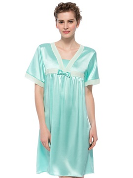 Cinderella Light Green Bowknot Trim Bust Short Sleeves Silk Nightgown