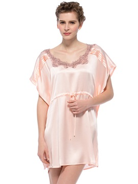 Wide Skin Pink Lace Trim Neckline Silk Nightgown