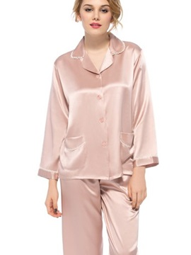 Top Quality Wonderful Lace Edged Cuff and Pockets Silk Pajamas