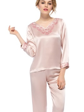 Fantastic Cute Flower Embroidery Full Length Silk Pajamas