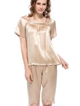 Top Quality Elegant Champagne Mulberry Silk Pajamas