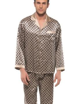 Stylish Pattern Open Collar One Pocket Long Sleeve Silk Pajamas