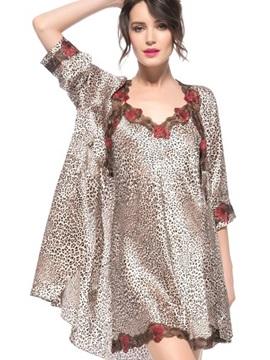 Wonderful Sexy Leopard Pattern Lace Trim Belted Robe Set