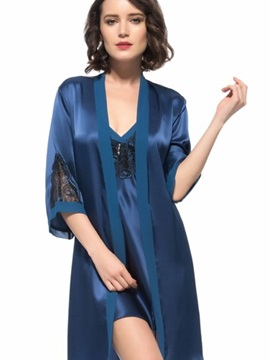 Top Quality Beautiful Flower Embroidery Silk Robe