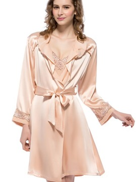 Luxury Skin Color Mulberry Silk Robe Set
