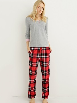 High Quality Fleece Plaid Flex Waistband Women Pajamas Pants