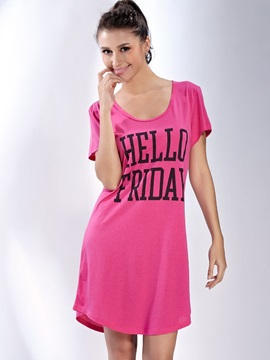 Comfortable Pink Cotton Round Neck Sleepshirt
