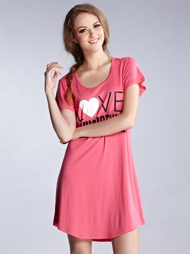 Comfortable Cotton Heart Shape Round Neck Sleepshirt