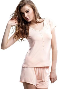 Comfy Concise Short Sleeves Elastic Waist Shorts Pajamas