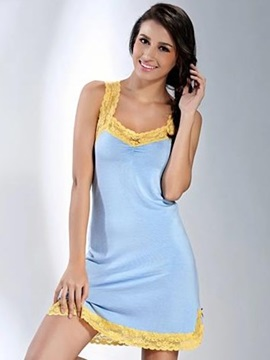Wide Lace Edge Side Open Hem Ruffled Bust Cotton Chemise