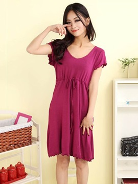 Modal Cotton Purple Loose Fit Round Neck Nightgown