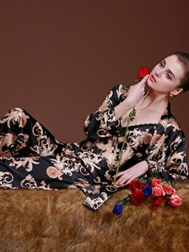Luxury Noble Print 3-Piece Imitated Silk Pajama Set