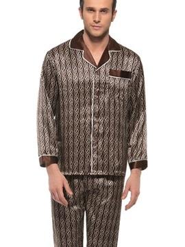 Soft and Comfy Men's Long Sleeve Silk Lapel Pajamas Set