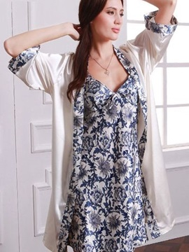 Fresh Floral Skirt And Double Design Spring Autumn Sleepshirt