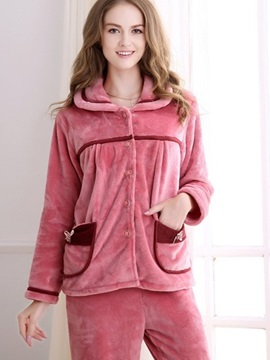 Beautiful And Lovely Deep Pink Pattern With Cute Bow Pocket High Warm Pajamas