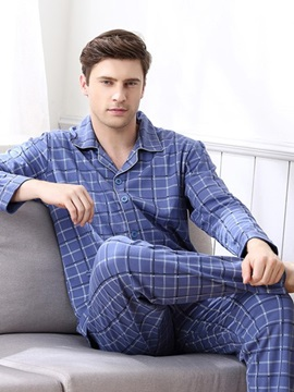 Man Deep Blue Popular Grid Design Spring Autumn And Winter Cotton Pajamas