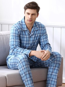 Man Sky Blue Small Square Grid Pattern Design Cotton Comfortable Fashion Pajamas