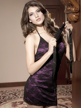 Magic Attractive Purple And Black Mixed Lace Open Back Design With Halter Neckline Sexy Chemises
